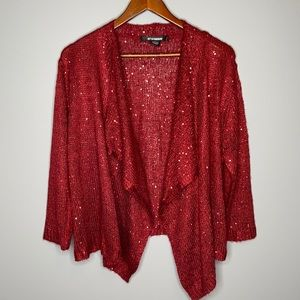 89th & Madison deep red sequinned open waterfall cropped open cardigan XL